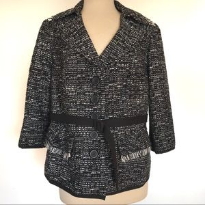 Lane Bryant Black White Tweed Belted Button Jacket